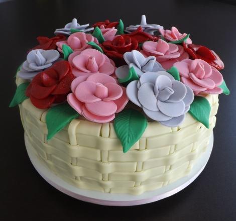 Bolo cesta de Flores