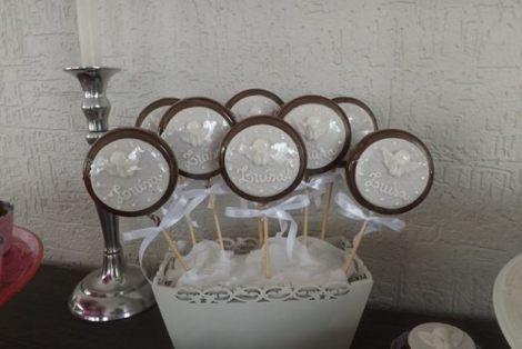 Pirulitos decorados para Batizado